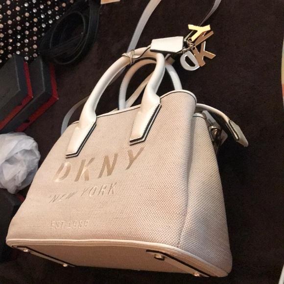 DKNYC Handbags - DKNY Khaki/white Satchel Medium canvas